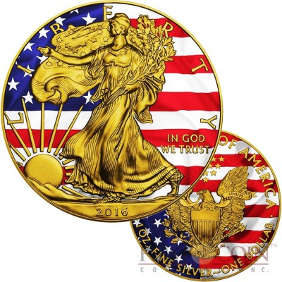 USA PATRIOTIC FLAG AMERICAN SILVER EAGLE $1 WALKING LIBERTY Silver coin 2016 Gold plated 1 oz