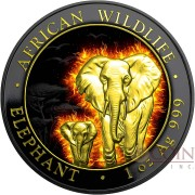 Somalia BURNING SOMALI ELEPHANT series AFRICAN WILDLIFE 100 Shillings Silver coin 2015 Black Ruthenium & Gold Plated 1 oz