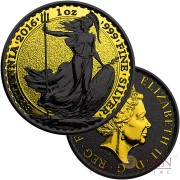 United Kingdom BRITANNIA SHADOWS series GOLD SHADOWS ₤2 Silver coin 2016 Black Ruthenium & Yellow Gold Plated 1 oz