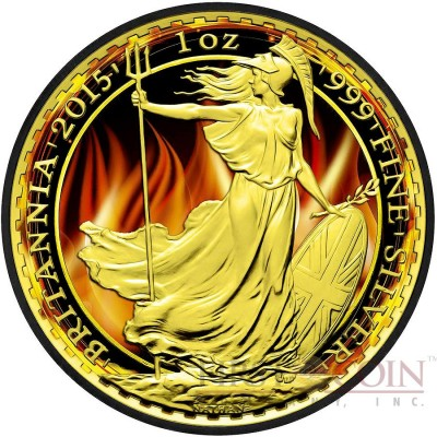 United Kingdom BURNING BRITANNIA ₤2 Silver coin 2015 Black Ruthenium & Gold Plated 1 oz