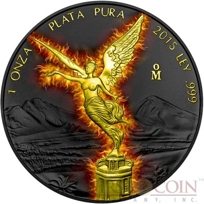 Mexico BURNING LIBERTAD 1 Onza Silver coin 2015 Black Ruthenium & Gold Plated 1 oz