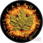 Canada BURNING MAPLE LEAF $5 CANADIAN SILVER MAPLE COIN 1 oz Black Ruthenium & Gold Plated 2016