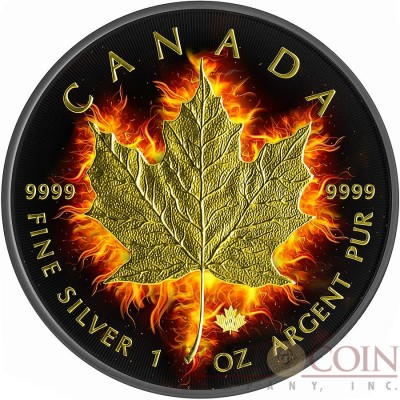 Canada BURNING MAPLE LEAF $5 CANADIAN SILVER MAPLE COIN 1 oz Black Ruthenium & Gold Plated 2014