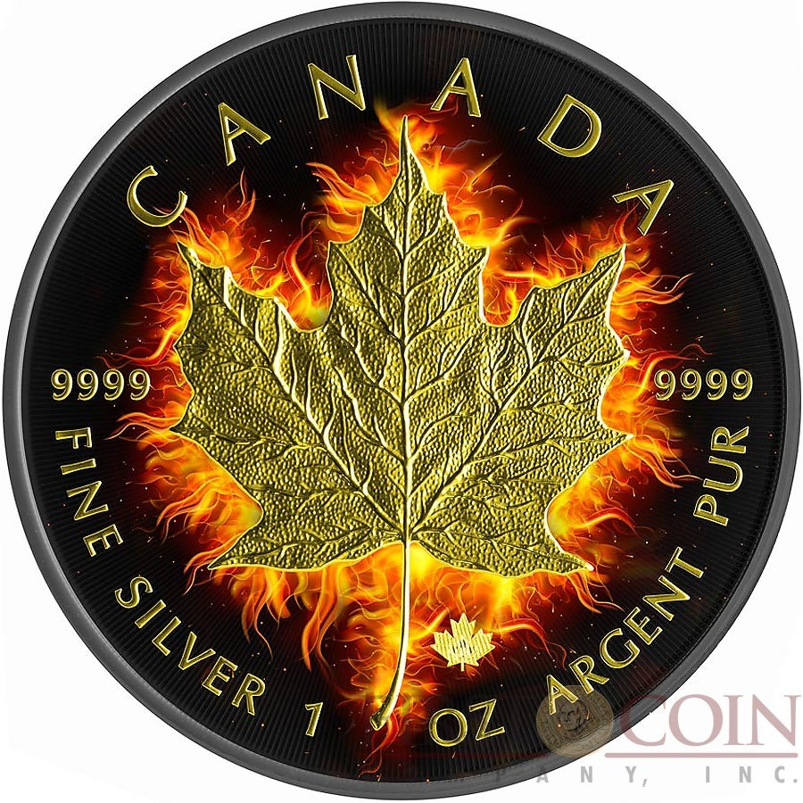 Canada Burning Maple Leaf 5 Canadian Silver Maple Coin 1