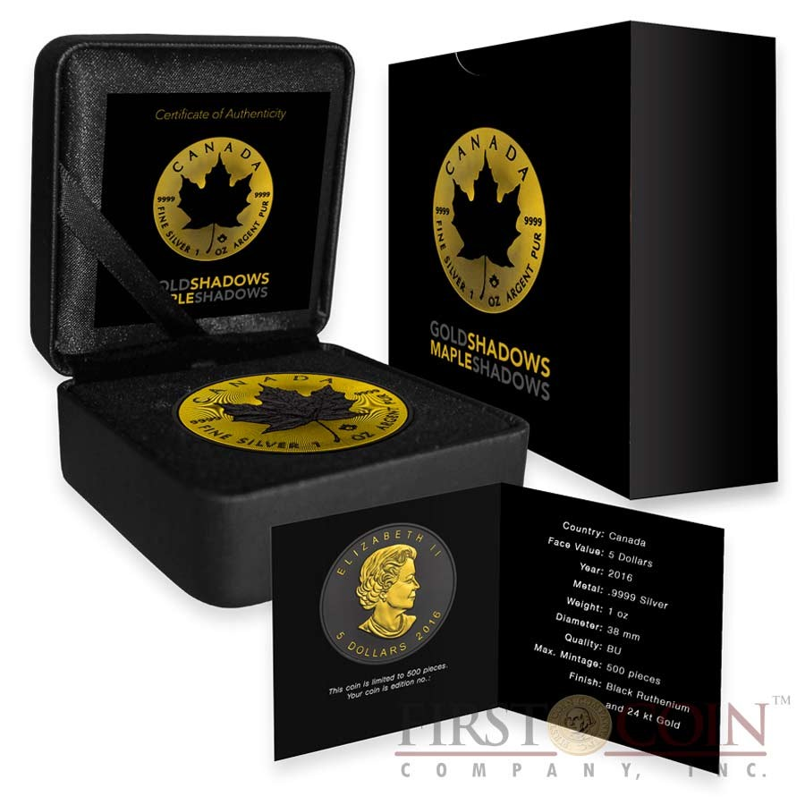 Canada MAPLE SHADOWS series GOLD SHADOWS $5 Canadian Maple Leaf Silver Coin 2016 Black Ruthenium & Yellow Gold Plated 1 oz
