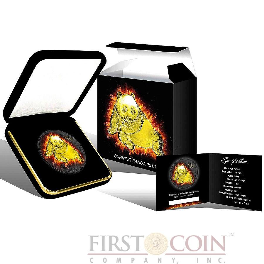China BURNING PANDA ¥10 Yuan Silver coin 2015 Black Ruthenium & Gold Plated 1 oz
