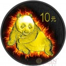 China BURNING PANDA ¥10 Yuan Silver coin 2015 Black Ruthenium & Gold Plated 1 oz