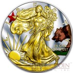 USA CALIFORNIA series US STATES FLAGS $1 Gold Plated 2015 Silver coin 1oz