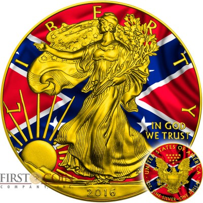 USA CONFEDERATE FLAG American Civil War AMERICAN SILVER EAGLE $1 WALKING LIBERTY 2016 Gold plated Silver coin 1 oz