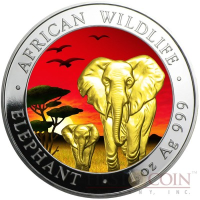 Somalia ELEPHANT SUNSET series AFRICAN WILDLIFE 100 Shillings Silver coin 2015 Gold Plated 1oz