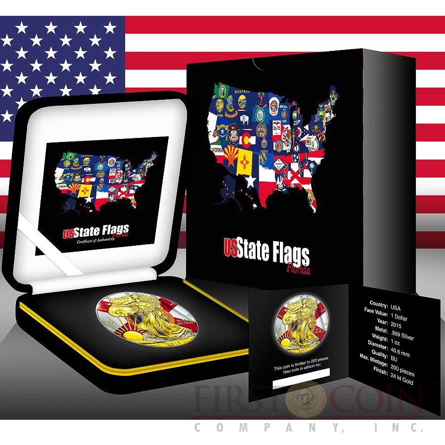 USA FLORIDA series US STATES FLAGS $1 Gold Plated 2015 Silver coin 1oz