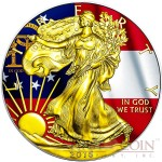 USA GEORGIA series US STATES FLAGS $1 Gold Plated 2015 Silver coin 1oz