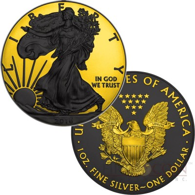 USA LIBERTY SHADOWS series GOLD SHADOWS Silver coin AMERICAN SILVER EAGLE $1 WALKING LIBERTY 2016 Black Ruthenium & Yellow Gold Plated 1 oz