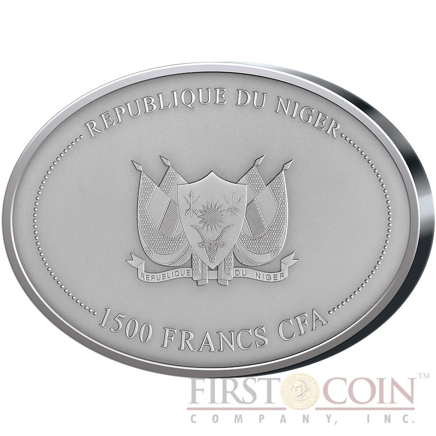 Republic of Niger WOOLLY MAMMOTH MAMMUTHUS PRIMIGENIUS 1500 Francs CFA Real mammoth tusk Oval Silver Coin Antique finish 2 oz