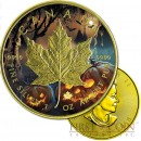 Canada HALLOWEEN MAPLE LEAF $5 CANADIAN SILVER MAPLE COIN 2016 Gold Plated 1 oz