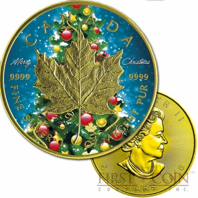 Canada MERRY CHRISTMAS MAPLE LEAF $5 CANADIAN SILVER MAPLE COIN 2016 Gold Plated 1 oz