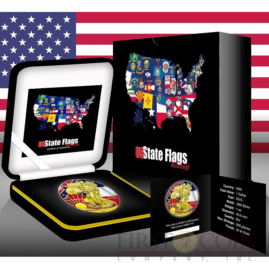 USA MISSISSIPPI series US STATES FLAGS $1 Gold Plated 2015 Silver coin 1oz