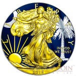 USA SOUTH CAROLINA series US STATES FLAGS $1 Gold Plated 2015 Silver coin 1oz