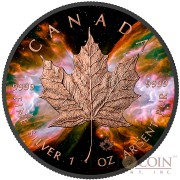 Canada BUTTERFLY NEBULA NGC 6302 series SPACE COLLECTION $5 Canadian Maple Leaf Silver Coin 2016 Black Ruthenium & Rose Gold Plated 1 oz
