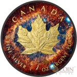 Canada HELIX NEBULA NGC 7293 series SPACE COLLECTION $5 Canadian Maple Leaf Silver Coin 2016 Black Ruthenium & Yellow Gold Plated 1 oz