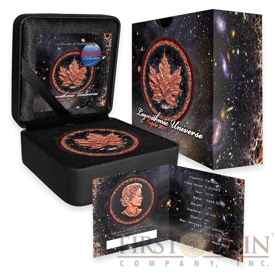 Canada LOGARITHMIC UNIVERSE series SPACE COLLECTION $5 Canadian Maple Leaf Silver Coin 2016 Black Ruthenium & Rose Gold Plated 1 oz
