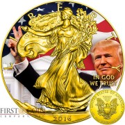 USA DONALD TRUMP 45th PRESIDENT OF USA INAUGURATION Walking Liberty American Silver Eagle $1 Silver coin 2016 Gold plated 1 oz