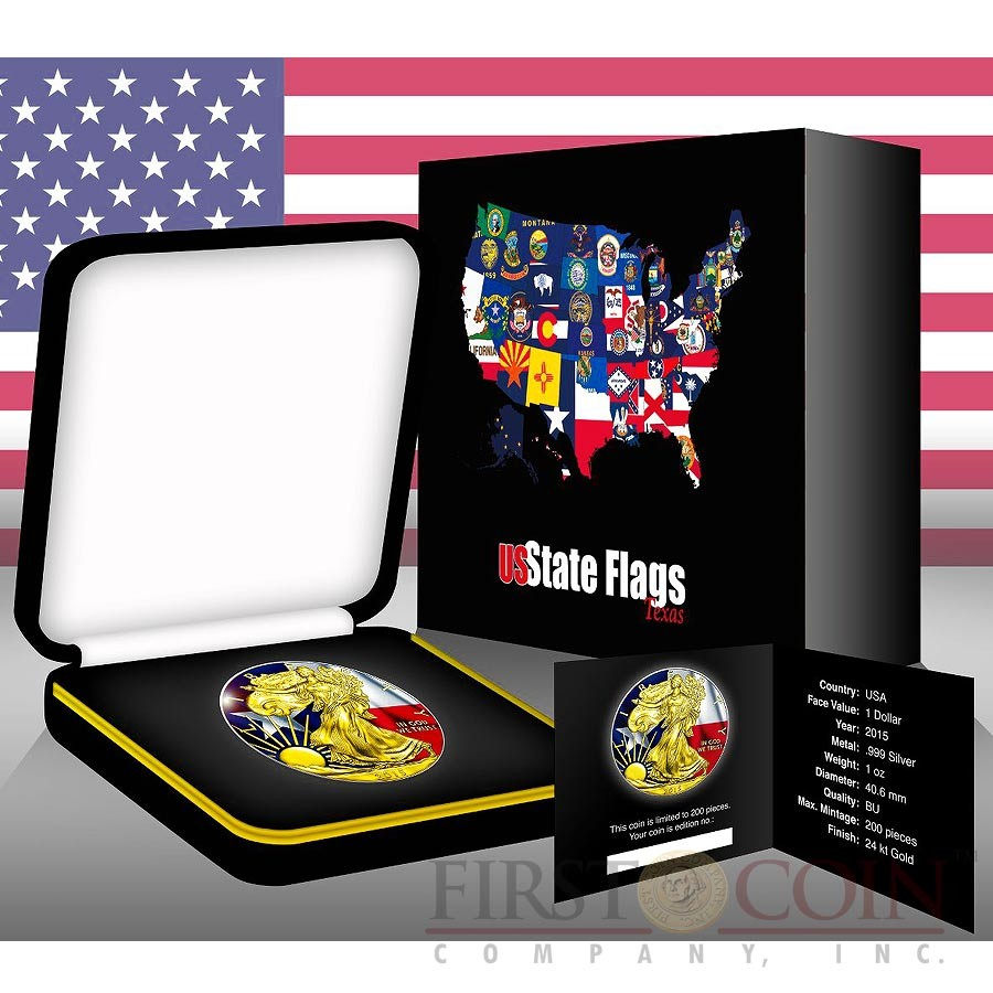 USA TEXAS series US STATES FLAGS $1 Gold Plated 2015 Silver coin 1 oz
