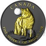 Canada $5 THE WOLF WILDLIFE AT NIGHT Series Silver coin Black Ruthenium & Gold Plated 1 oz 2011