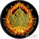 Canada BURNING MAPLE LEAF $5 Black Ruthenium & Gold Plated 1 oz 2014