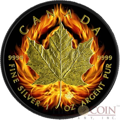 Canada BURNING MAPLE LEAF $5 CANADIAN SILVER MAPLE COIN Black Ruthenium & Gold Plated 1 oz 2015