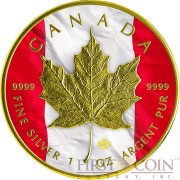 Canada PATRIOTIC FLAG MAPLE LEAF $5 Silver coin Gold Plated 1 oz 2014