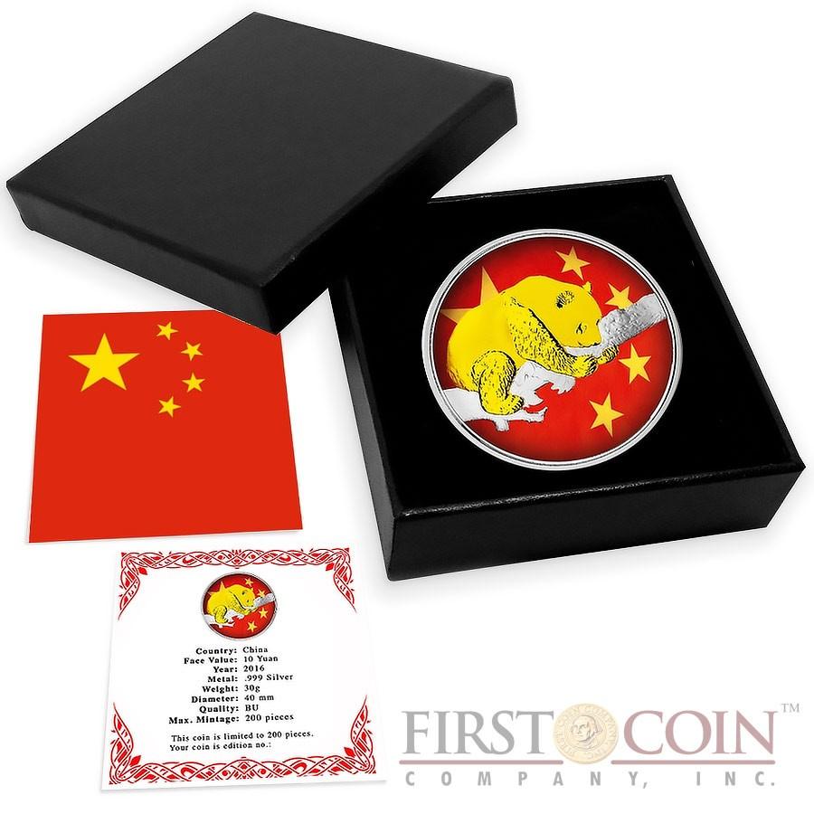 China PANDA CHINESE FLAG ¥10 Yuan 2016 Silver Coin Gold plated 30 grams