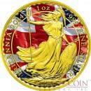 United Kingdom BRITANNIA PATRIOTIC FLAG ₤2 Gold Plated 1 oz 2014