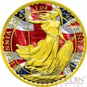 United Kingdom BRITANNIA PATRIOTIC FLAG ₤2 Silver coin Gold Plated 1 oz 2014
