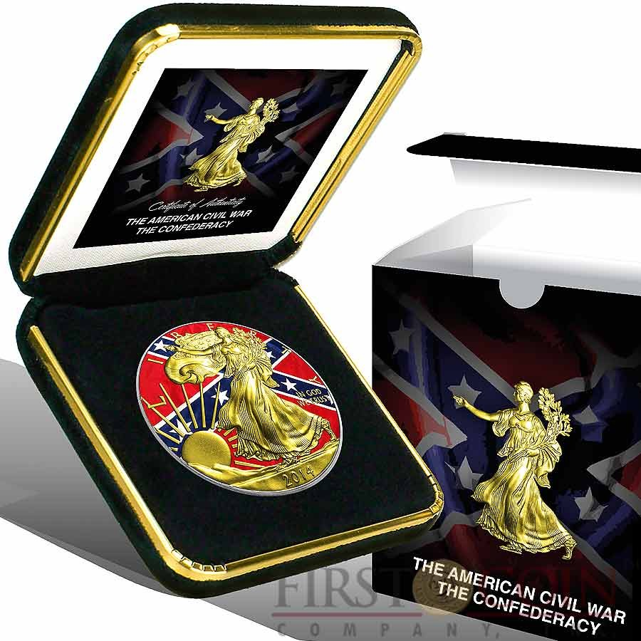 USA CONFEDERATE FLAG American Civil War AMERICAN SILVER EAGLE $1 WALKING LIBERTY 2014 Gold Plated Silver coin 1 oz