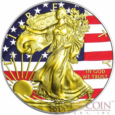USA THE UNION The American Civil War AMERICAN SILVER EAGLE $1 WALKING LIBERTY 2014 Gold Plated Silver coin 1 oz