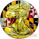 USA MARYLAND series US STATES FLAGS $1 Gold Plated 2015 Silver coin 1oz