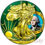 USA WASHINGTON series US STATES FLAGS $1 Gold Plated 2015 Silver coin 1oz