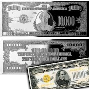 USA 1934 Ten Thousand Dollars In Gold $10,000 Silver Note Bar Proof 4 oz