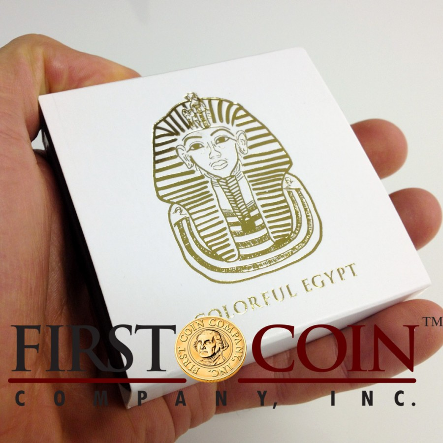 Fiji PHARAOH TUTANKHAMUN series GOLDEN & COLORFUL EGYPT $1 Gilded Colored Silver coin 2012 Proof