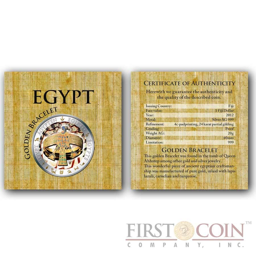 Fiji GOLDEN BRACELET OF QUEEN AHHOTEP series GOLDEN & COLORFUL EGYPT $1 Gilded Colored Silver coin Proof 2012