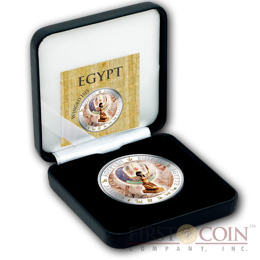Fiji WINGED I S I S series GOLDEN & COLORFUL EGYPT $1 Gilded Colored Silver coin 2012 Proof