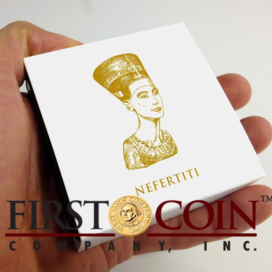 Fiji NEFERTITI series GOLDEN & COLORFUL EGYPT $1 Gilded Colored Silver coin 2012 Proof