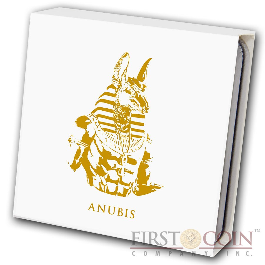 Fiji ANUBIS series GOLDEN & COLORFUL EGYPT $1 Gilded Colored Silver coin 2012 Proof