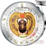 Fiji WINGED SCARAB series GOLDEN & COLORFUL EGYPT $1 Gilded Colored Silver coin 2012 Proof