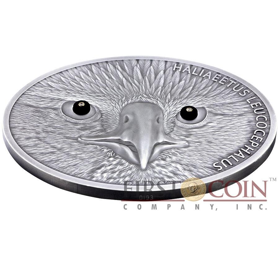 Benin BALD EAGLE Silver Coin 2014 Antique finish 10,000 Francs Real Diamonds as Eyes 5 oz