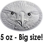 Benin BALD EAGLE Silver Coin 2014 Antique finish 10,000 Francs Real Diamonds as Eyes 5 oz