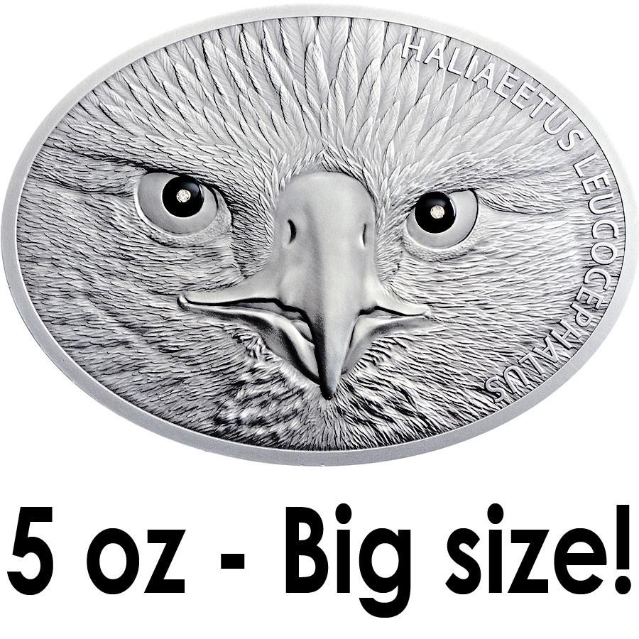 10 000 Up Diamond: Benin BALD EAGLE Silver Coin 2014 Antique Finish 10,000