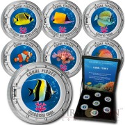 Cook Islands series CORAL FISHES 1st Collection Cu-Ni with Handcrafted Cold-enamel-application $0.50 Seven Coin Set 2000