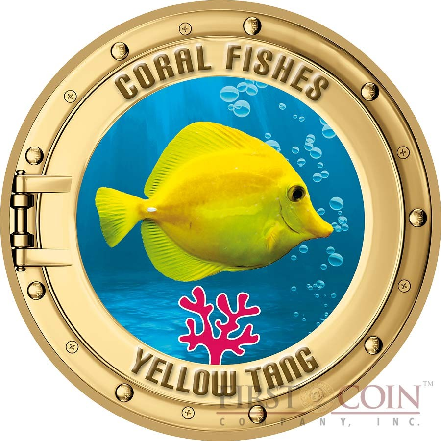 Cook Islands series CORAL FISHES 2nd Collection Cu-Ni with Handcrafted Cold-enamel-application $0.50 Seven Coin Set 2000